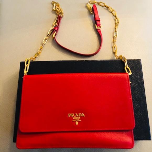 6dc38d1b19f8 Prada Bags | Saffiano Wallet Crossbody Bag Red Fuoco | Poshmark